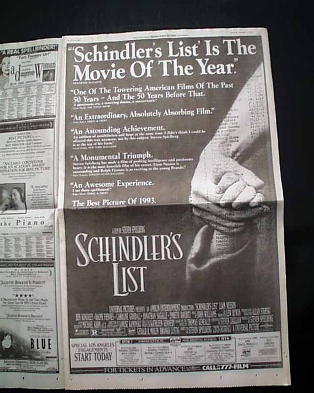 schindlers list review Review/film: schindler's list imagining the holocaust to remember it by janet maslin continue reading the main story share this page continue reading the.