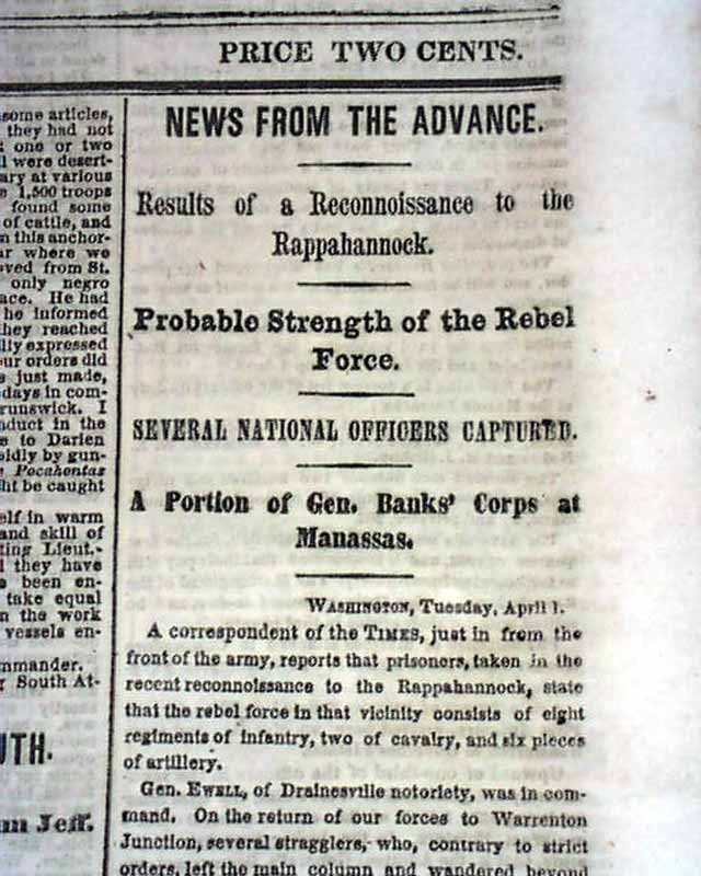 1862 Civil War Newspaper Brunswick Georgia