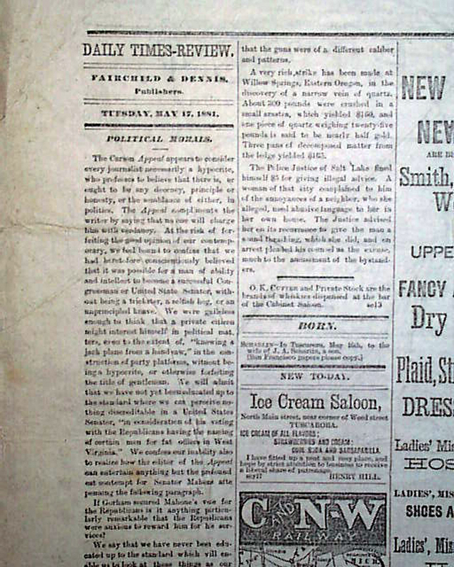 Old West Newspaper From Tuscarora Nevada ...