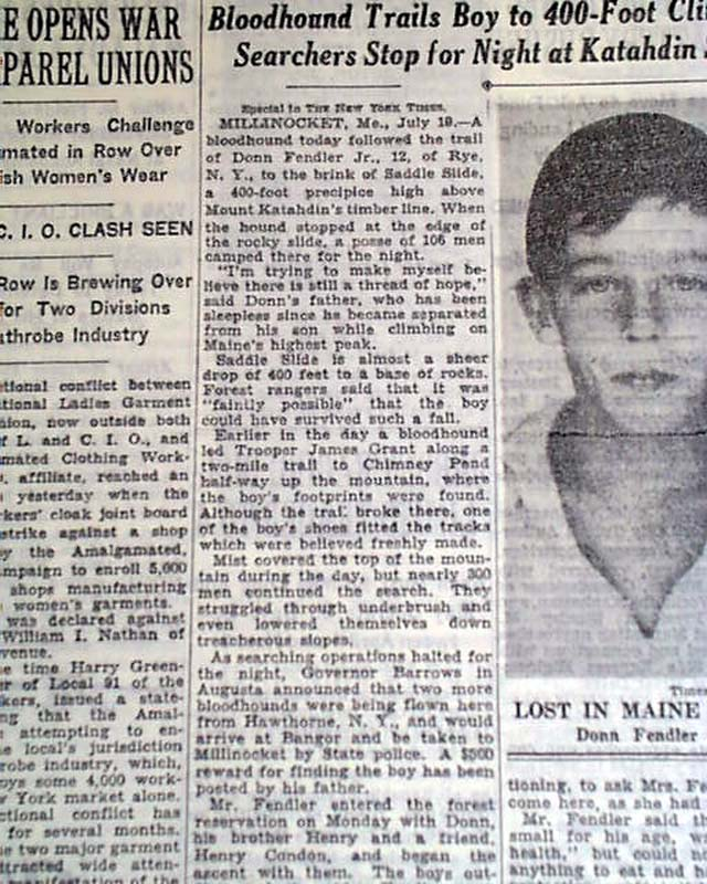 Details about DONN FENDLER Rye NY Boy Lost in Maine Mountains Woods MISSING  1939 Old Newspaper