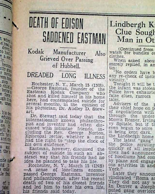 Kodak Camera Founder George Eastman Dies In 1932