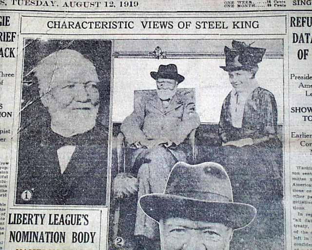 Andrew Carnegie Death 1919    - RareNewspapers com