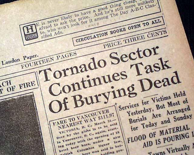 Tri-State Tornado in 1925    - RareNewspapers com