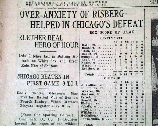1919 world series thesis
