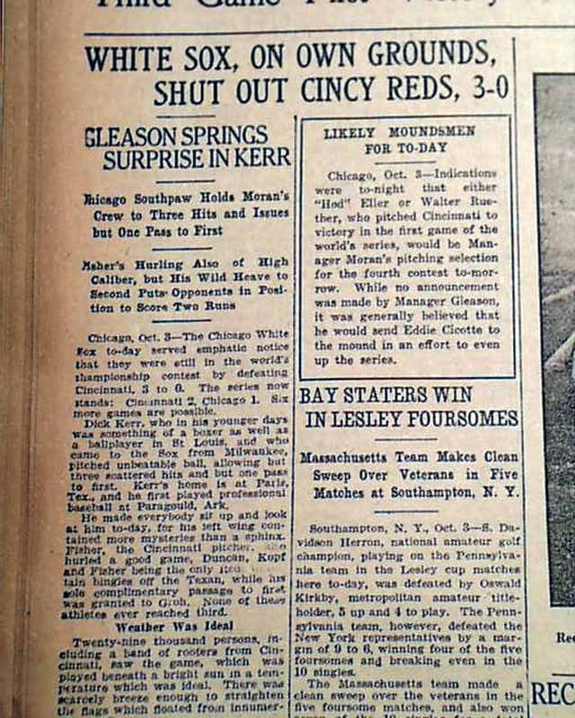 1919 black sox scandal paper After a shocking loss in the 1919 world series, the chicago white sox were investigated for fixing the championship by judge kenesaw mountain landis, rear left, in the infamous black sox scandal.