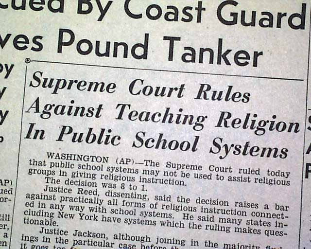 supreme courts ruling banned school prayer in public schools Online text of the decision of the u s supreme court in the abingdon school district case, joined with the case brought by madeleine murray o'hair, in which the warren court banned prayer in public schools.