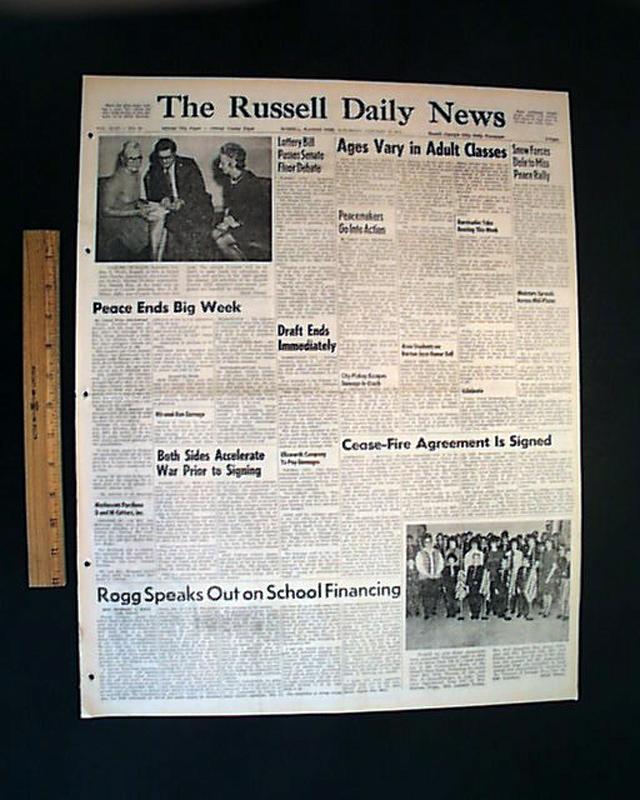 Paris Peace Accords Signed Rarenewspapers