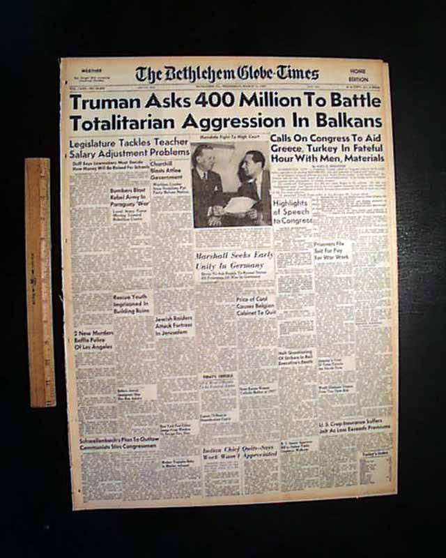Harry Truman Doctrine in 1947.... - RareNewspapers.com | 640 x 800 jpeg 70kB