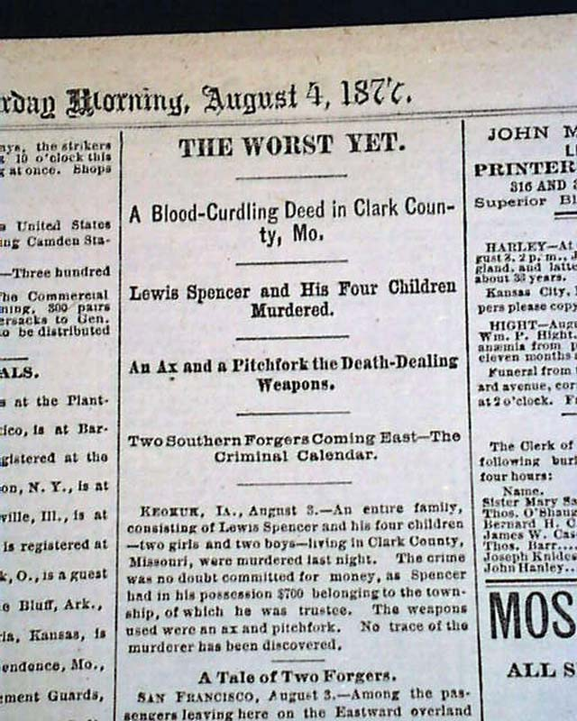 Details about CLARK COUNTY Folker Township MISSOURI Spencer Family AX  MURDERS 1877 Newspaper