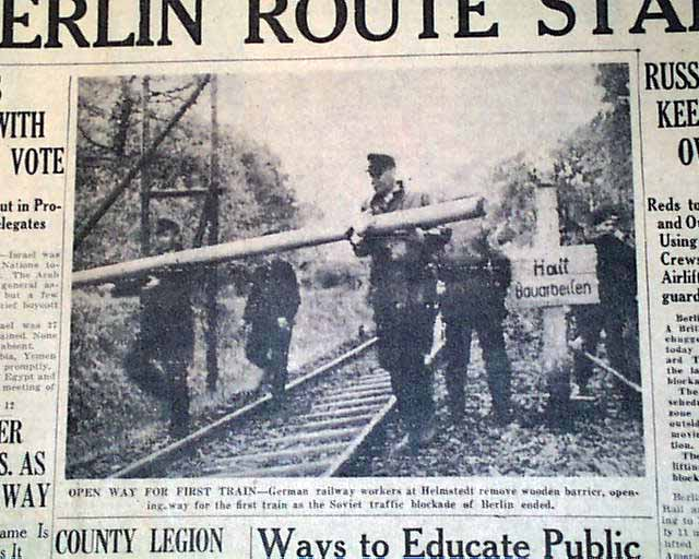 Фрагмент газеты с заметкой о перекрытии железных дорог, ведущих в Западный Берлин.