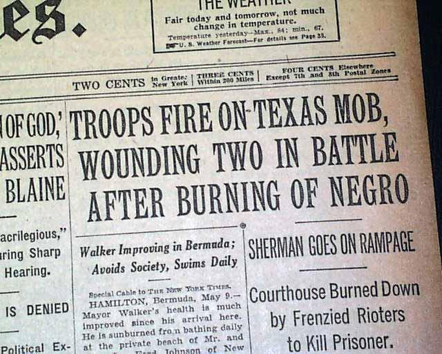 Sherman Tx News >> Sherman Texas Negro Lynching Riot Rarenewspapers Com