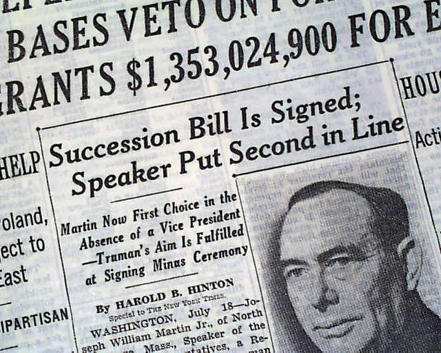 Presidential Succession Act of 1947... - RareNewspapers.com