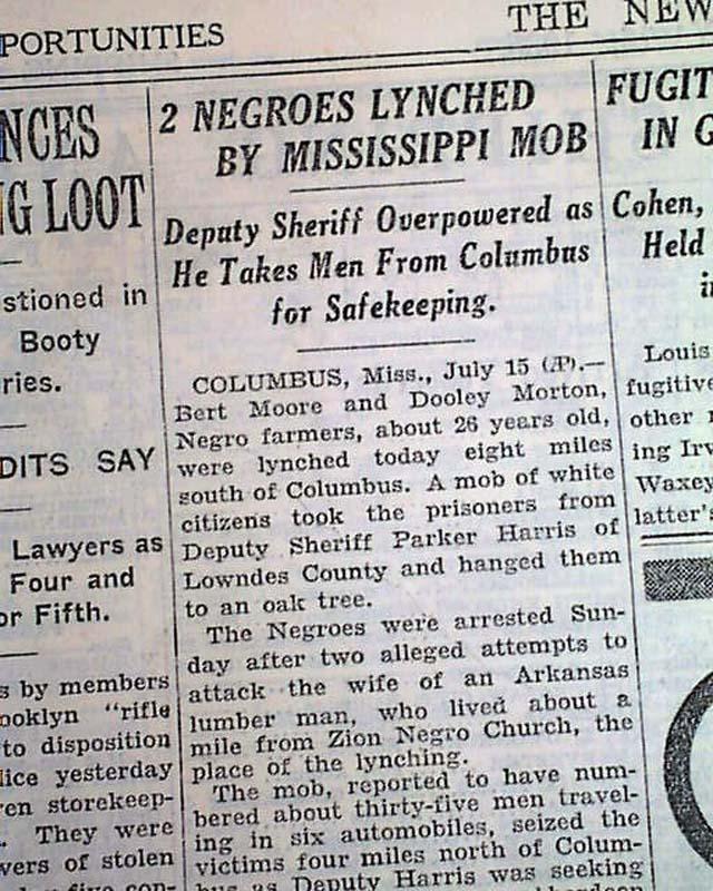 Columbus, Mississippi Negro lynchings    - RareNewspapers com