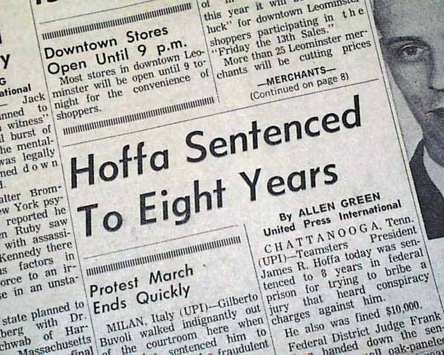 Jimmy Hoffa Guilty Rarenewspaperscom