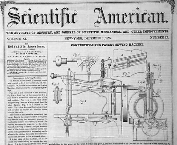 Early Sewing Machine Invention RareNewspapers Awesome Invented Sewing Machine